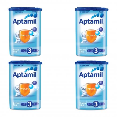 Aptamil Aptamil 3 - 900 Gr Devam Sütü X 4 Adet  (SKT'li)