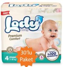 Lody Baby Lody Baby - 4 Numara (Maxi) Bebek Bezi - 30'lu Paket (7-18 Kg arası bebekler için)