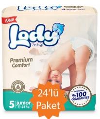 Lody Baby Lody Baby - 5 Numara (Junior) Bebek Bezi - 24'lü Paket (11-25 Kg arası bebekler için)