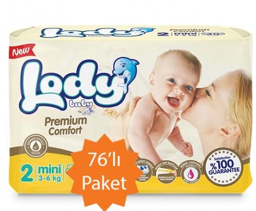 Lody Baby Lody Baby - 2 Numara (Mini) Bebek Bezi - 76'lı Paket (3-6 Kg arası bebekler için)