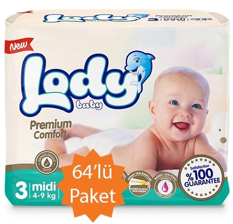 Lody Baby Lody Baby - 3 Numara (Midi) Bebek Bezi - 64'lü Paket (4-9 Kg arası bebekler için)