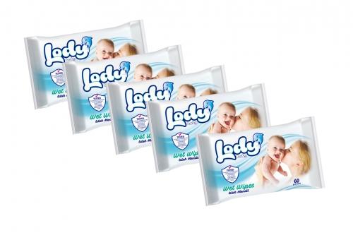 Lody Baby Lody Baby - Bebekler için Islak Mendil - 60 Yaprak (5 Adet)
